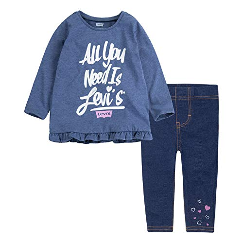 Levi's Baby Girls Tunic Top and Leggings Two-Piece Set, Navy Heather/Medieval Blue, 24M (Baby Levi Clothing)