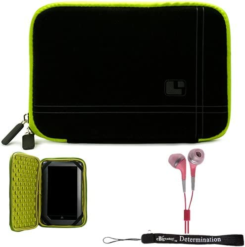 Green Black Limited Edition Stylish Sleeve Premium Cover Case for Accessories for Barnes and Noble Nook Color eBook Reader Tablet and Hand Strap and Earbuds
