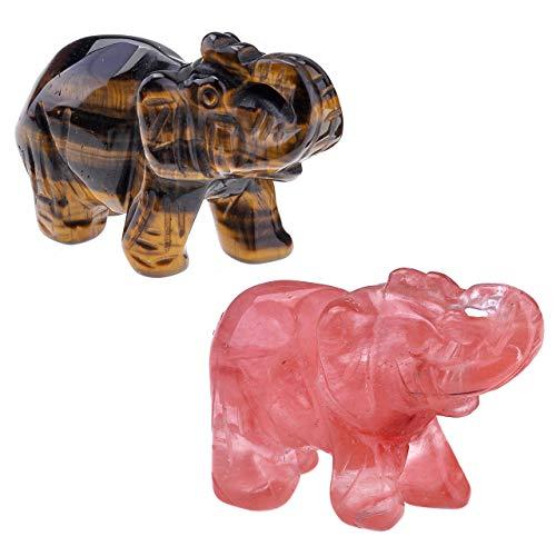 Top Plaza 2pcs Healing Crystal Stones Cherry Quartz & Tiger Eye Stone Elephant Figurines Reiki Gemstone Crafts Statues…