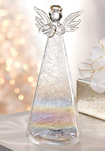 Dawhud Direct Glass Color Changing LED Angel (Crystal Figurines Christmas)