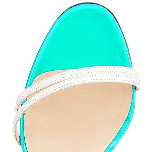 Fibbia Scarpe Spillo Open da ELASHE Sandali Azzurro a Cinturino Tacco Donna Toe Caviglia Con 7dgxSqf