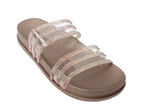 H2K Women's Glitter Crystal Rhinestone Slip On Flatform Open Toe Buckle Strap Slide Sandals (7 M US, Rose Gold)