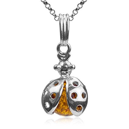 Sterling Silver Ladybug Pendant - Ian and Valeri Co. Amber Sterling Silver Ladybug Pendant Necklace Chain 18