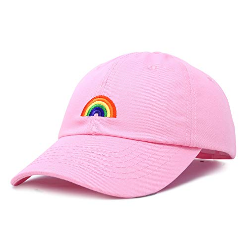 (DALIX Rainbow Baseball Cap Womens Hats Cute Hat Soft Cotton Caps in Light Pink)