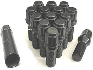 14x1.5 BALL SEAT BLACK WHEEL LUG BOLTS 28MM SHANK OE MOST MERCEDES VW AUDI 16