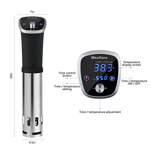 MaxKare Sous Vide Precision Cooker with Immersion Circulator, Double Digital Display Screens, Stainless Steel, Precise Temperature/Time Control for Quality Food at Home. Easy to Clean. by MaxKare (Image #7)