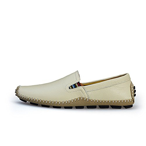 Fisca Men's Leather Driving Flat Shoes Moccasins Casual Slip on Loafers Beige 0dkb55