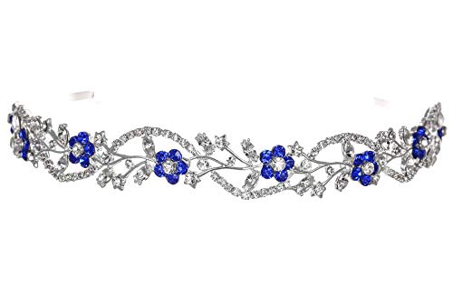 Bridal Flower Rhinestones Crystal Wedding Headband Tiara - Blue Crystal Silver Plated T1164