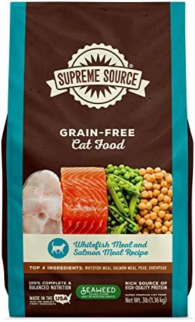 Supreme Source Grain Free Dry Cat Food, Whitefish Meal Salmon Meal Recipe, 3 Pound Bag