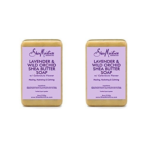 Shea Moisture Organic Lavender & Wild Orchid Shea Butter Soap with Calendula Flower (Pack of 2)