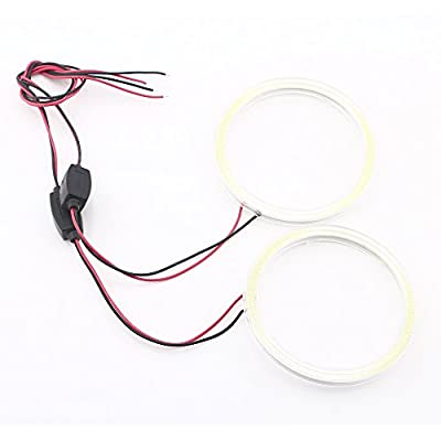 Qasim 2 Pcs White 80MM Car Angel Eyes Halo Rings COB Light Circle Ring Headlight Lamp with Plastic Cover 12V 24V: Automotive