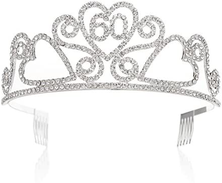 Amazon SWEETV Rhinestone Tiara Birthday Crown Princess Party Hat Hair Accessories 15 16 18 21 30 40 50 60 70th Gift 60th Beauty