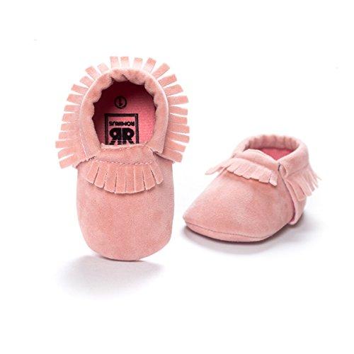 Etrack-Online - Zapatos tipo mocasines suaves para bebé niño de piel sintética de ante, con suela rosa