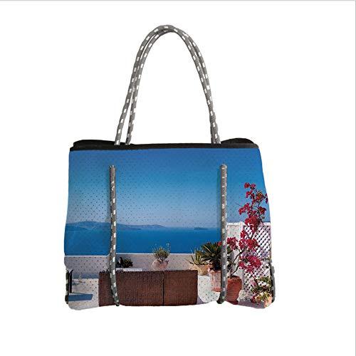 Santorini Quilt - iPrint Neoprene Multipurpose Beach Bag Tote Bags,Modern Decor,View of Mediterranean Santorini Aegean Sea Seascape Holiday,Sky Blue Red and Light Grey,Women Casual Handbag Tote Bags