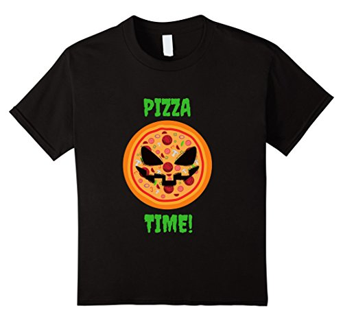 Pizza Girl Halloween Costume (Kids Funny Pizza Halloween Costume - Pumpkin Face Pizza 12 Black)