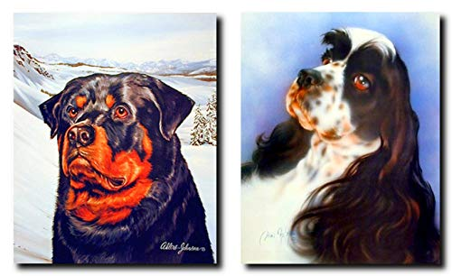 Wall Decor Picture English Springer Spaniel and Wild Rottweiler Dog Two Set Home Art Print Poster (8x10)