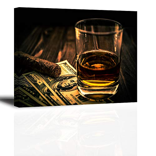 - Cigar and Wine Wall Art for Bar, PIY Whiskey Canvas Painting Prints Artwork (Waterproof Home Decor, 1
