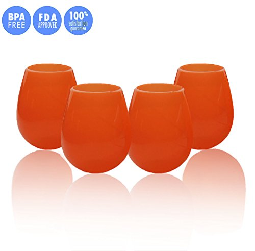 Kuke Set of 4 Unbreakable Silicone Wine Glasses Stemless Collapsible Drinking Cups 9/12 Ounce (Orange-12 oz) (Drinking Glasses Pictures)
