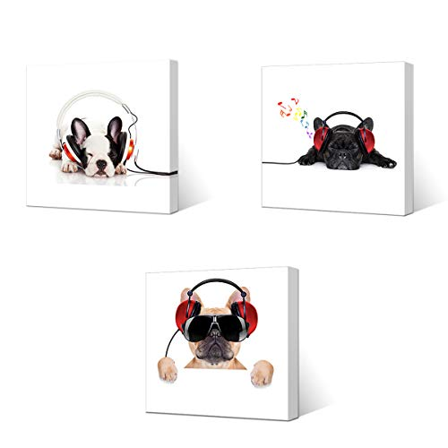 (VVOVV Wall Decor - Canvas Prints Cool Dog With Sunglasses Listen To DJ Music Headphone Painting Animal Pictures Wall Decor Contemporary Giclee Artwork Stretched And Framed Wall Art)