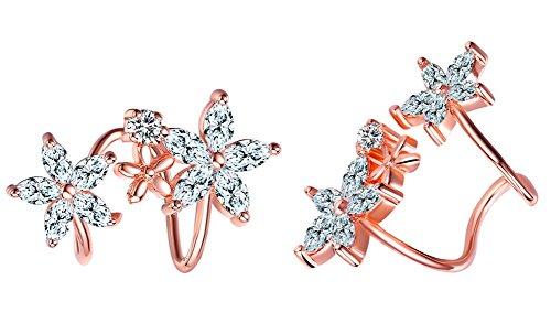 Hosaire Ear Cuff Elegant Sweet Flower Zircon Back Hanging Stud Earrings for Women's Jewelry Golden (Zircon Hanging Earrings)