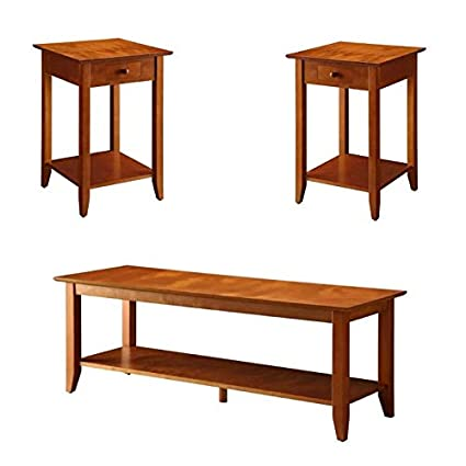 Peachy Amazon Com 2 Piece Heritage Coffee Table And Set Of 2 End Creativecarmelina Interior Chair Design Creativecarmelinacom