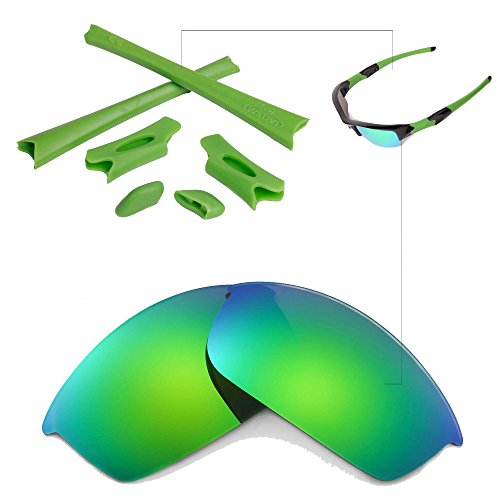 - Walleva Emerald Polarized Lenses and Green Rubber Kit for Oakley Flak Jacket
