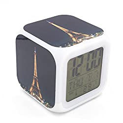 BoFy Led Alarm Clock Paris Eiffel Tower Night View Pattern Personality Creative Noiseless Multi-functional Electronic Desk Table Digital Alarm Clock for Unisex Adults Kids Toy Gift