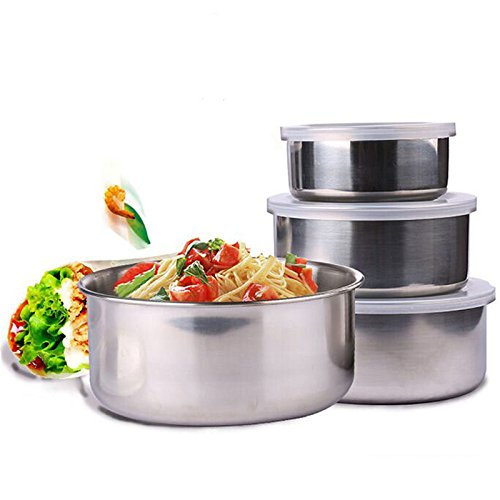 Funnytoday365 5 Piece Bpa Stainless Steel Storage Bowl Set With Clear Lid Single Wall Bowls For Salad Vegetables Fruits Food Preservation