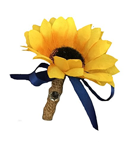 Boutonniere -Sunflower with Burlap Ribbon and Navy Blue Ribbon Bow