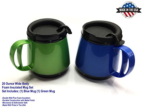 Two 20oz. Foam Insulated Wide Body ThermoServ Mugs by GAMA Electronics