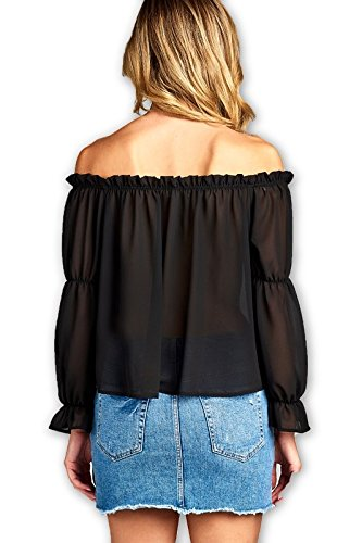 556a0cb73e7d4 Women s Puffy Arm Long Sleeve Ruffle Front Tie Off Shoulder Top (Small