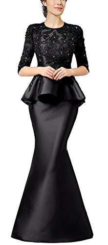 Rongstore Women`s Evening Dress With Beaded Lace Peplum Black ()