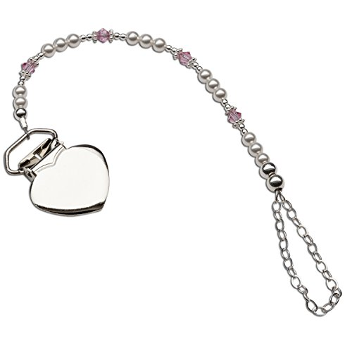 (Sterling Silver Heart Binky or Pacifier Clip with Sparkling Pink Crystals (Clip is base metal))