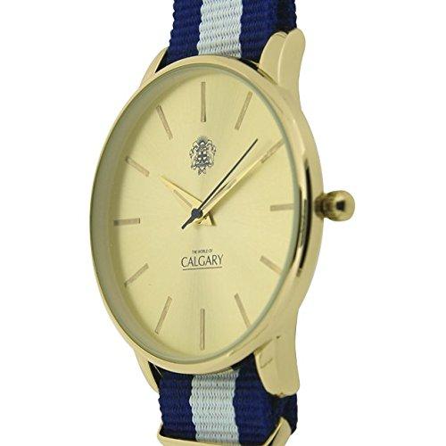 Relojes Calgary Icon Vintage. Reloj Vintage para Hombre, Correa de Tela Azul y Blanco, Esfera Color Dorado: Amazon.es: Zapatos y complementos