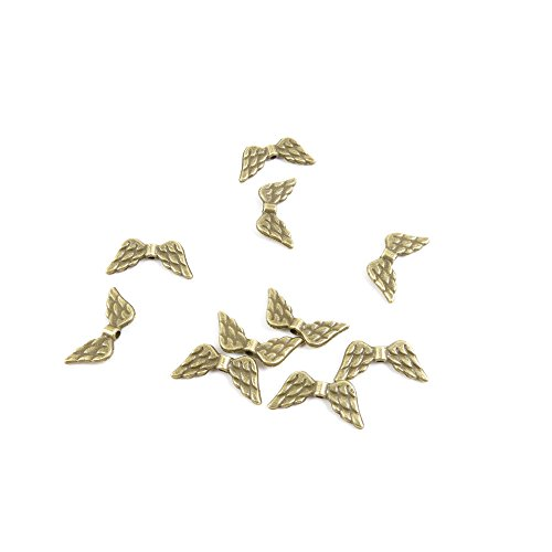 50 PCS Jewelry Making Charms Findings Supply Supplies Crafting Lots Bulk Wholesale Antique Bronze Tone Plated J4YU2 Angel Wings Loose Beads