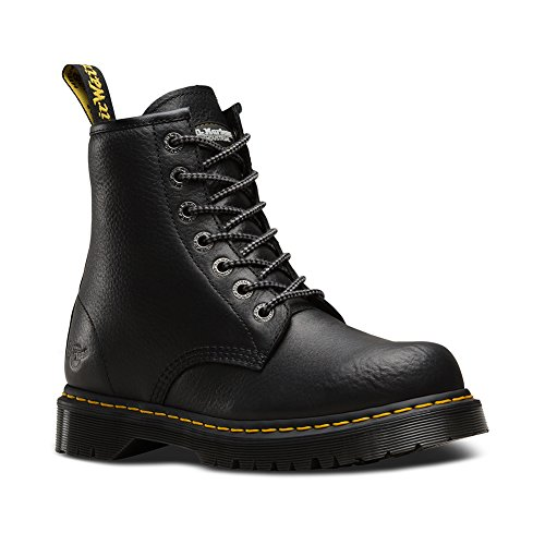 Dr. Martens Unisex 7B10 Slip Resistant NS 7 Eye Boots, Black Leather, 8 M UK, M9/W10 M US (Eye Boot Leather Boots)