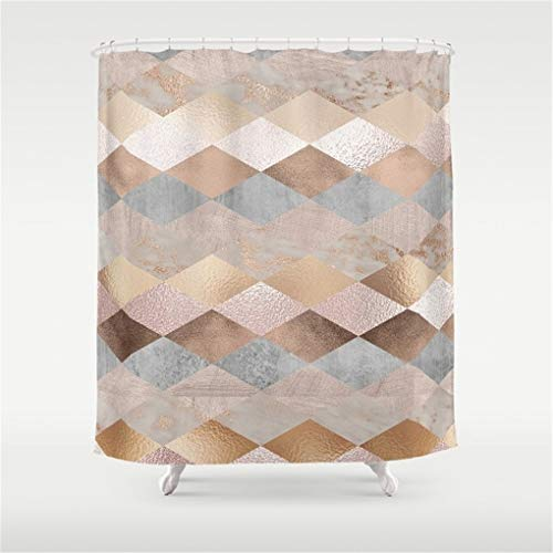 Roses Argyle (Zeajant Copper and Blush Rose Gold Marble Argyle Shower Curtain 60Wx72H Inches)