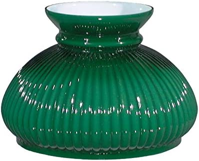 B P Lamp 7 Shade, Plain Top Rib, Cased Green Over Opal