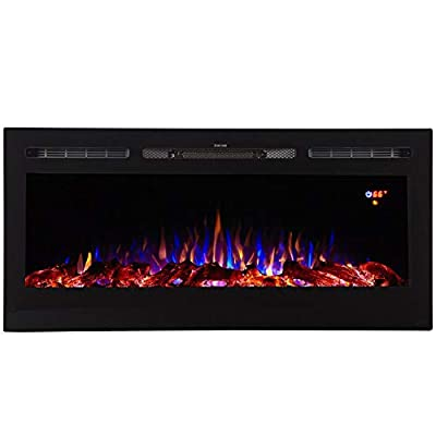"""Regal Flame Essex 40"""" Built-in Ventless Recessed Wall Mounted Electric Space Heater Fireplace in Pebble, Crystal, Log with 3 Color Option"""