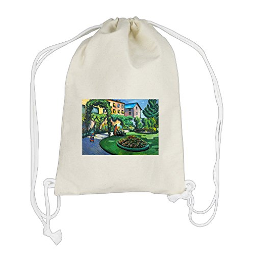 Garden Image (Macke) Cotton Canvas Backpack Drawstring Bag Sack (Macke Garden)