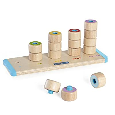 Guidecraft Count and Stack Poppers - Rubberwood Cylinders Counting and Matching Skills: Toys & Games
