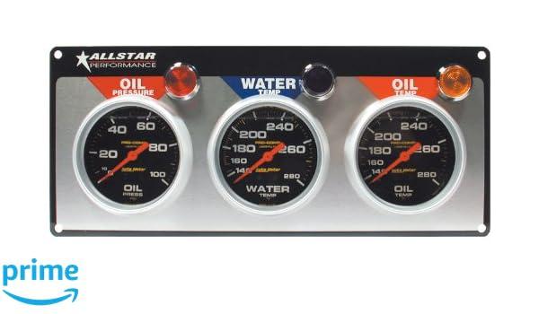 Red Modern Needles, Chrome Trim Rings, Style Kit DIY Install Aurora Instruments 4447 Pegged Ash SAE 6-Gauge Set with Emblem