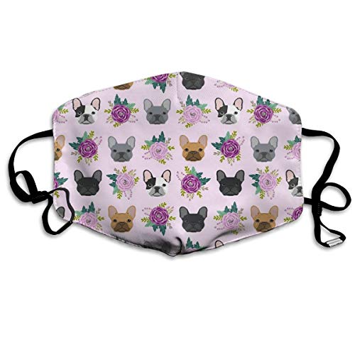 French Bulldog Purple Mouth Mask Unisex Anti-dust Cotton Face Mask for Men and Women