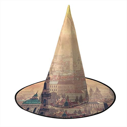 Prague Halloween Party (Kuyanasfk Halloween Witch Hat European Cityscape Sunrise in Prague Wizard Hats Cap for Party Masquerade Cosplay Costume Accessory Daily 1)