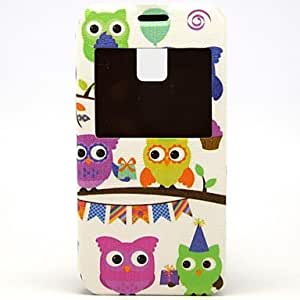 TOPMM A Group Of Little Owl Pattern PU Open the Window Leather Case with Card Slot and Stand for Samsung Galaxy S5mini