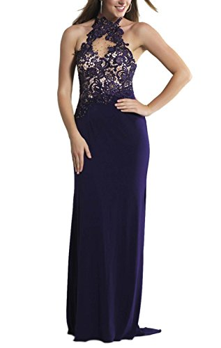Sherrydress Women's Full Length Sexy Halter Beaded Illusion Jersey Gown Purple