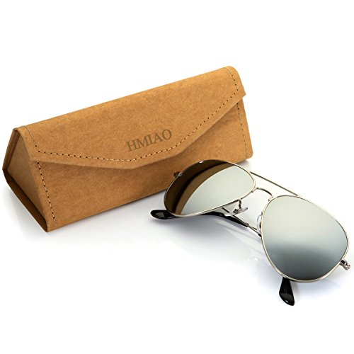 Aviator Sunglasses Polarized for Men Women,Flash Mirror Lens UV400 Sunglasses Eyewear with Sun Glasses Case (Silver/Silver Frame, - Aviator Sunglases