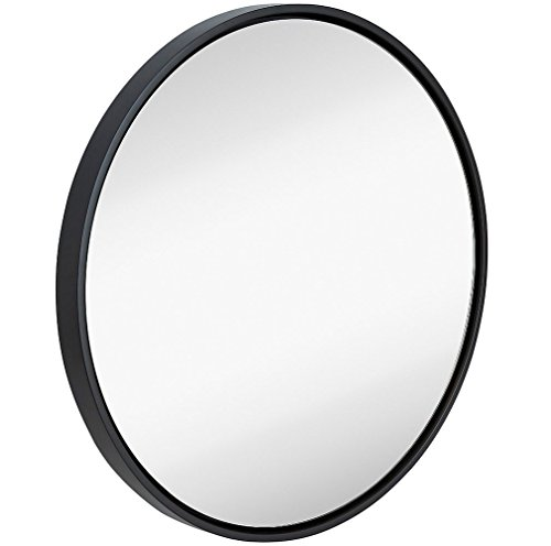 Clean Large Modern Black Circle Frame Wall Mirror | Contemporary Premium Silver Backed Floating Round Glass Panel | Vanity, Bedroom, or Bathroom | Hanging (Mirror Round Silver)
