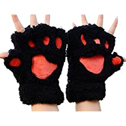 Etuoji Women Girls Comfy Soft Plush Cat Bear Paw Claw Design Winter Fingerless Gloves Mitten