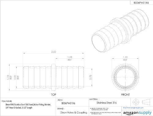 Sleeve Mender (Dixon RM6 Stainless Steel 316 Shank/Water Fitting, Mender, 3/4